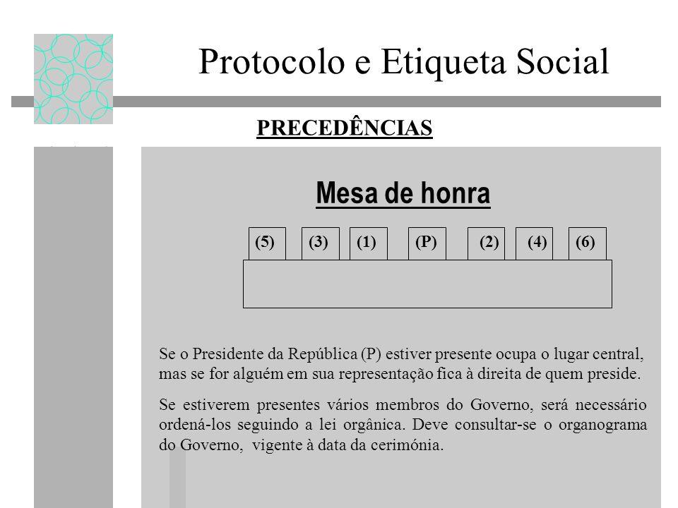 Mesa de honra (P)(1)(2)(3)(5)(6) PRECEDÊNCIAS (4) Se o Presidente da República (P) estiver presente ocupa o lugar central, mas se for alguém em sua re