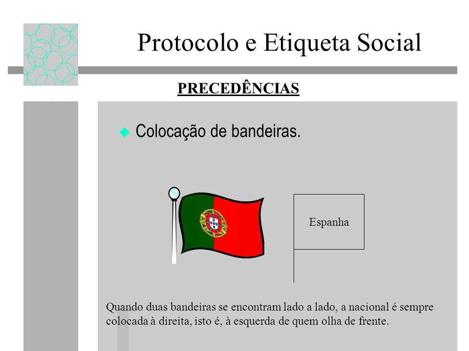 Protocolo e Etiqueta Social Colocação de bandeiras. PRECEDÊNCIAS Espanha Quando duas bandeiras se encontram lado a lado, a nacional é sempre colocada