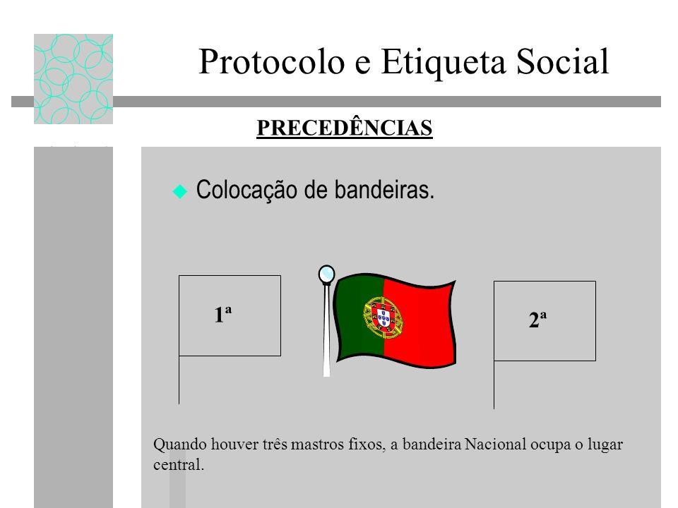 Protocolo e Etiqueta Social Colocação de bandeiras. PRECEDÊNCIAS 1ª Quando houver três mastros fixos, a bandeira Nacional ocupa o lugar central. 2ª