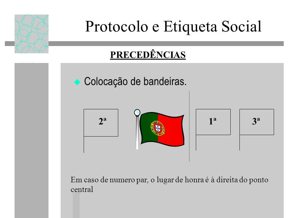 Protocolo e Etiqueta Social Colocação de bandeiras. PRECEDÊNCIAS Em caso de numero par, o lugar de honra é à direita do ponto central 2ª 1ª 3ª