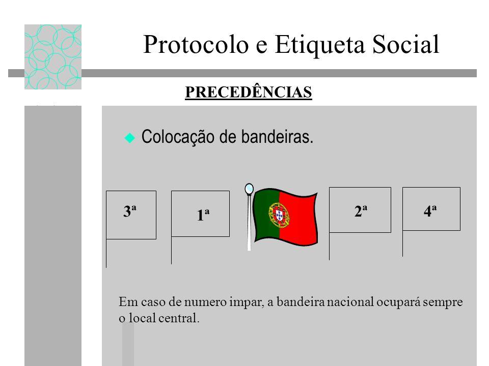 Protocolo e Etiqueta Social Colocação de bandeiras. PRECEDÊNCIAS Em caso de numero impar, a bandeira nacional ocupará sempre o local central. 1ª 2ª 4ª