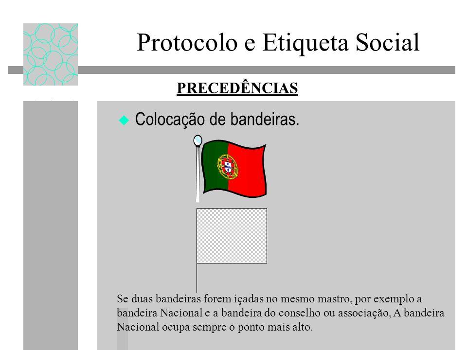 Protocolo e Etiqueta Social Colocação de bandeiras. PRECEDÊNCIAS Se duas bandeiras forem içadas no mesmo mastro, por exemplo a bandeira Nacional e a b