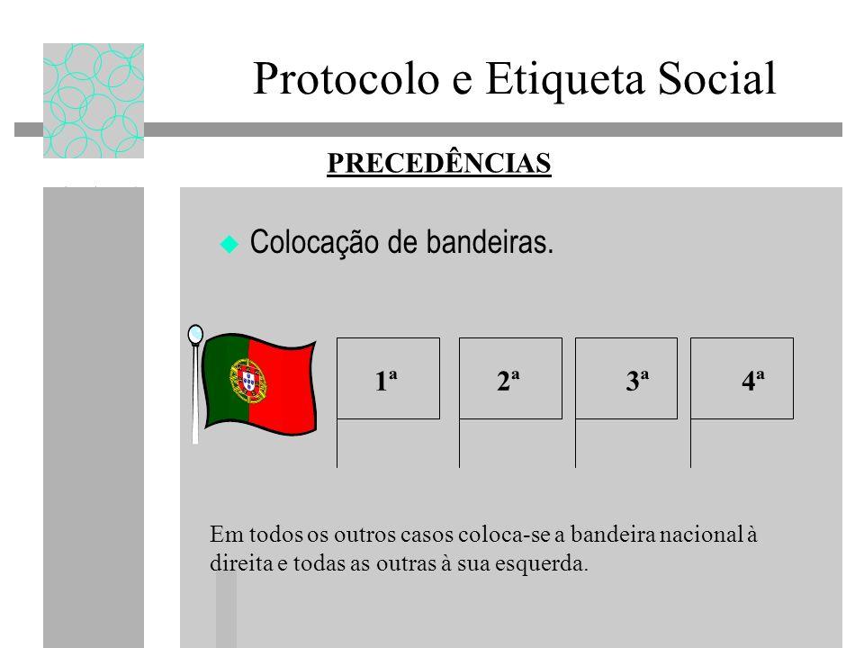 Protocolo e Etiqueta Social Colocação de bandeiras. PRECEDÊNCIAS Em todos os outros casos coloca-se a bandeira nacional à direita e todas as outras à