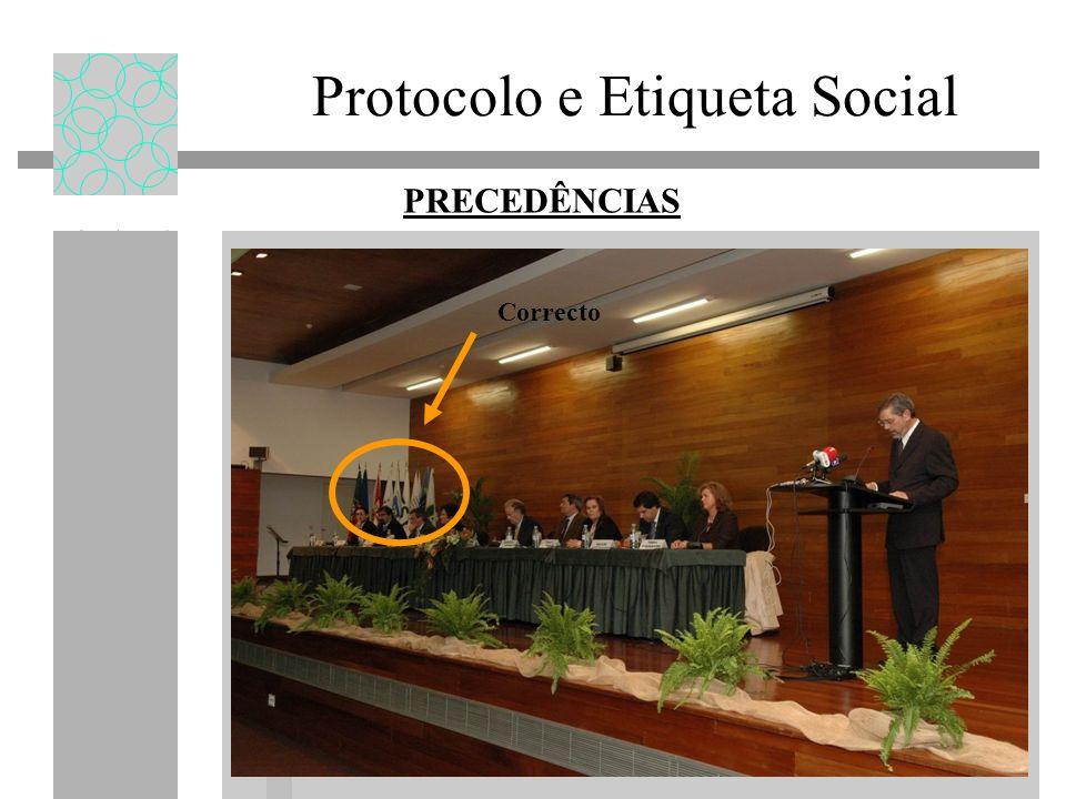 Protocolo e Etiqueta Social PRECEDÊNCIAS Correcto