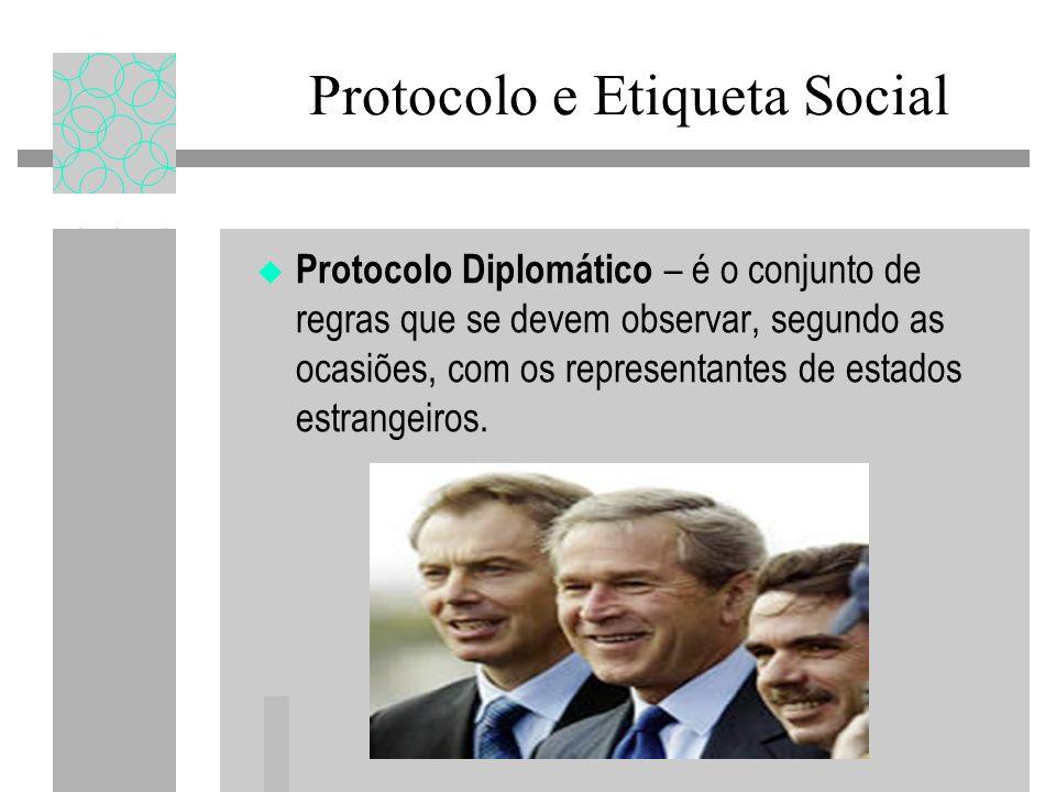 Protocolo e Etiqueta Social Protocolo Diplomático – é o conjunto de regras que se devem observar, segundo as ocasiões, com os representantes de estados estrangeiros.