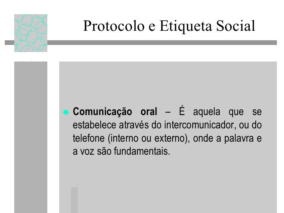 Protocolo e Etiqueta Social Comunicação oral – É aquela que se estabelece através do intercomunicador, ou do telefone (interno ou externo), onde a pal