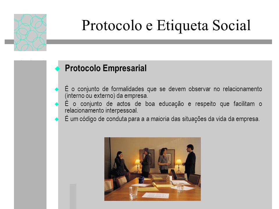 Protocolo e Etiqueta Social Protocolo Empresarial É o conjunto de formalidades que se devem observar no relacionamento (interno ou externo) da empresa.