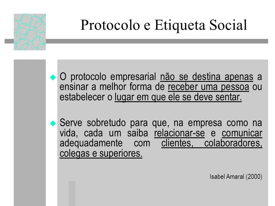Protocolo e Etiqueta Social O protocolo empresarial não se destina apenas a ensinar a melhor forma de receber uma pessoa ou estabelecer o lugar em que ele se deve sentar.