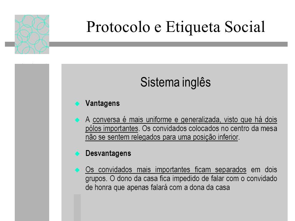 Sistema inglês Vantagens A conversa é mais uniforme e generalizada, visto que há dois pólos importantes.