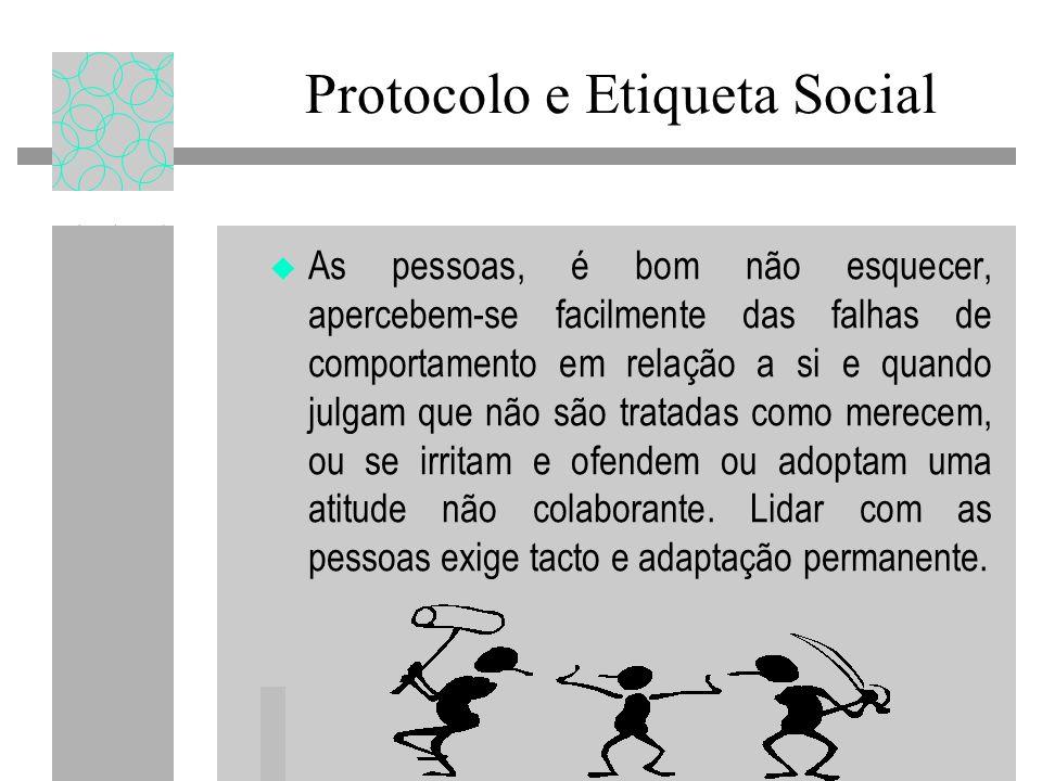 Protocolo e Etiqueta Social As pessoas, é bom não esquecer, apercebem-se facilmente das falhas de comportamento em relação a si e quando julgam que não são tratadas como merecem, ou se irritam e ofendem ou adoptam uma atitude não colaborante.