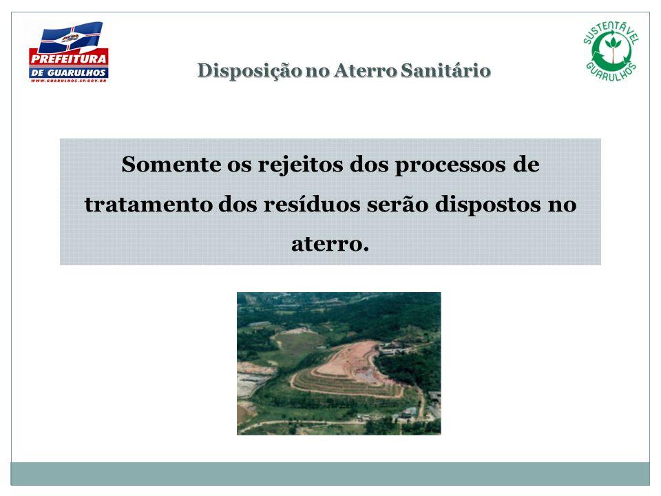 Disposição no Aterro Sanitário Somente os rejeitos dos processos de tratamento dos resíduos serão dispostos no aterro.