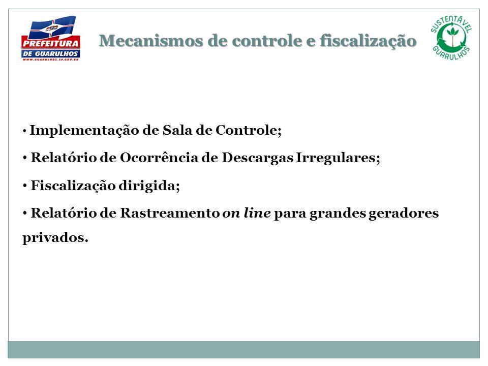 Mecanismos de controle e fiscalização Implementação de Sala de Controle; Relatório de Ocorrência de Descargas Irregulares; Fiscalização dirigida; Rela