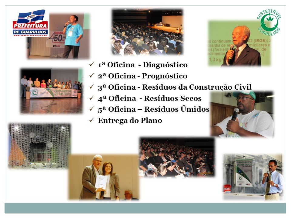 1ª Oficina - Diagnóstico 2ª Oficina - Prognóstico 3ª Oficina - Resíduos da Construção Civil 4ª Oficina - Resíduos Secos 5ª Oficina – Resíduos Úmidos E