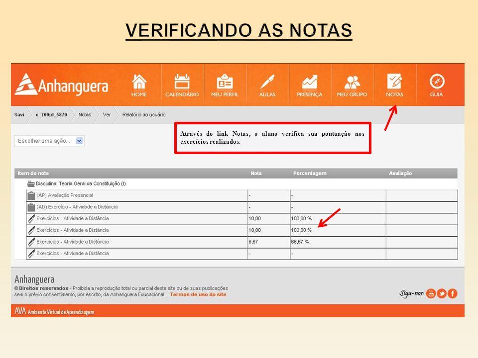 Através do link Notas, o aluno verifica sua pontuação nos exercícios realizados.