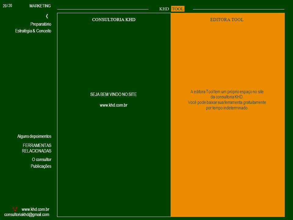 MARKETING Estratégia & Conceito www.khd.com.br consultoriakhd@gmail.com Preparatório FERRAMENTAS RELACIONADAS O consultor Alguns depoimentos Publicaçõ