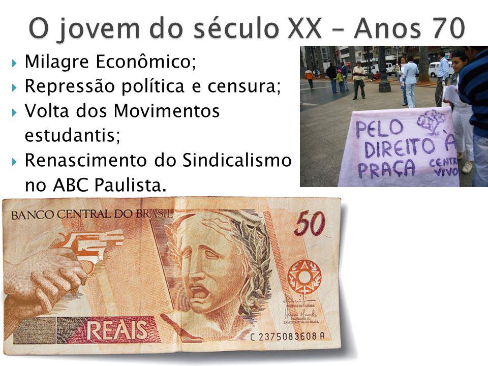 Anos 80 Economia abalada (inflação); O fim da Ditadura – Diretas já.