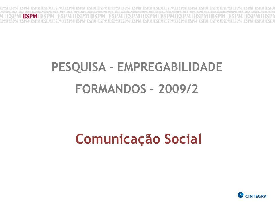 PESQUISA - EMPREGABILIDADE FORMANDOS - 2009/2 Comunicação Social