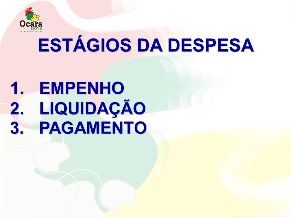 1.EMPENHO EMPENHO ESTÁGIOS DA DESPESA 2.LIQUIDAÇÃO LIQUIDAÇÃO 3.PAGAMENTO PAGAMENTO