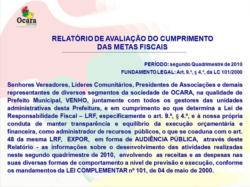 RELATÓRIO DE AVALIAÇÃO DO CUMPRIMENTO DAS METAS FISCAIS PERÍODO: segundo Quadrimestre de 2010 FUNDAMENTO LEGAL: Art. 9.º, § 4.º, da LC 101/2000 Senhor
