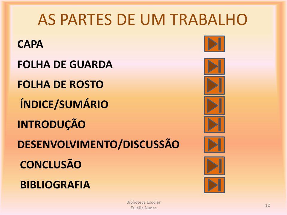 AS PARTES DE UM TRABALHO CAPA FOLHA DE GUARDA FOLHA DE ROSTO ÍNDICE/SUMÁRIO INTRODUÇÃO DESENVOLVIMENTO/DISCUSSÃO CONCLUSÃO BIBLIOGRAFIA 12 Biblioteca Escolar Eulália Nunes