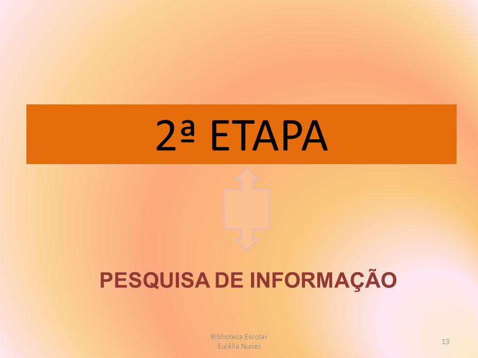 2ª ETAPA PESQUISA DE INFORMAÇÃO 13 Biblioteca Escolar Eulália Nunes