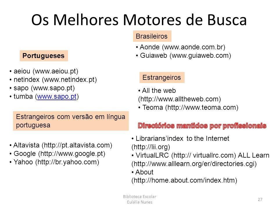 Os Melhores Motores de Busca Biblioteca Escolar Eulália Nunes 27 Portugueses aeiou (www.aeiou.pt) netindex (www.netindex.pt) sapo (www.sapo.pt) tumba (www.sapo.pt)www.sapo.pt Brasileiros Aonde (www.aonde.com.br) Guiaweb (www.guiaweb.com) Estrangeiros com versão em língua portuguesa Altavista (http://pt.altavista.com) Google (http://www.google.pt) Yahoo (http://br.yahoo.com) Estrangeiros All the web (http://www.alltheweb.com) Teoma (http://www.teoma.com) Librariansindex to the Internet (http://lii.org) VirtualLRC (http:// virtuallrc.com) ALL Learn (http://www.alllearn.org/er/directories.cgi) About (http://home.about.com/index.htm)