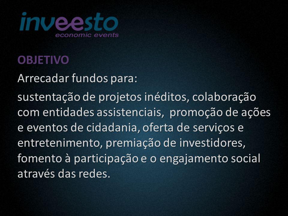 OBJETIVO Arrecadar fundos para: sustentação de projetos inéditos, colaboração com entidades assistenciais, promoção de ações e eventos de cidadania, oferta de serviços e entretenimento, premiação de investidores, fomento à participação e o engajamento social através das redes.