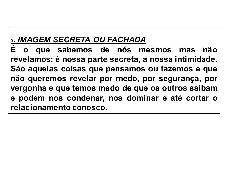3. IMAGEM SECRETA OU FACHADA É o que sabemos de nós mesmos mas não revelamos: é nossa parte secreta, a nossa intimidade. São aquelas coisas que pensam