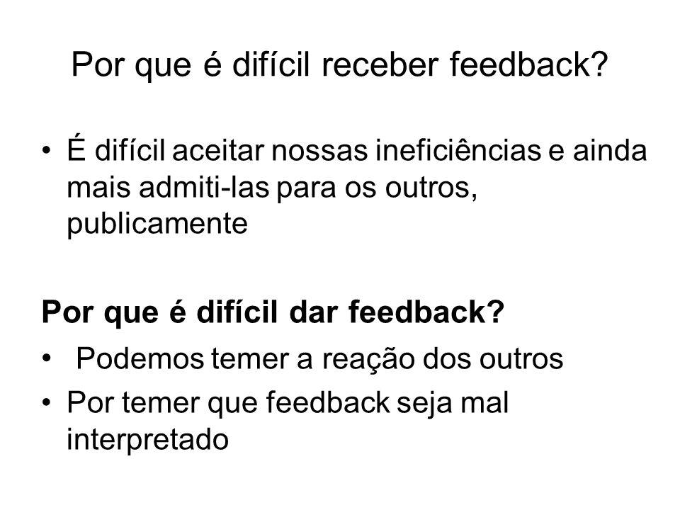 Por que é difícil receber feedback? É difícil aceitar nossas ineficiências e ainda mais admiti-las para os outros, publicamente Por que é difícil dar