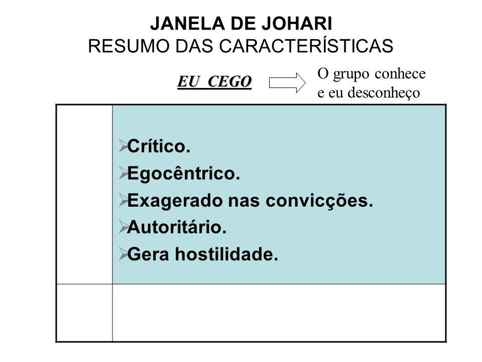 JANELA DE JOHARI RESUMO DAS CARACTERÍSTICAS Crítico. Egocêntrico. Exagerado nas convicções. Autoritário. Gera hostilidade. EU CEGO O grupo conhece e e