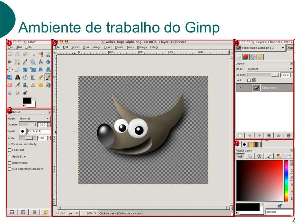 2 Ambiente de trabalho do Gimp 1 2 5 4 3