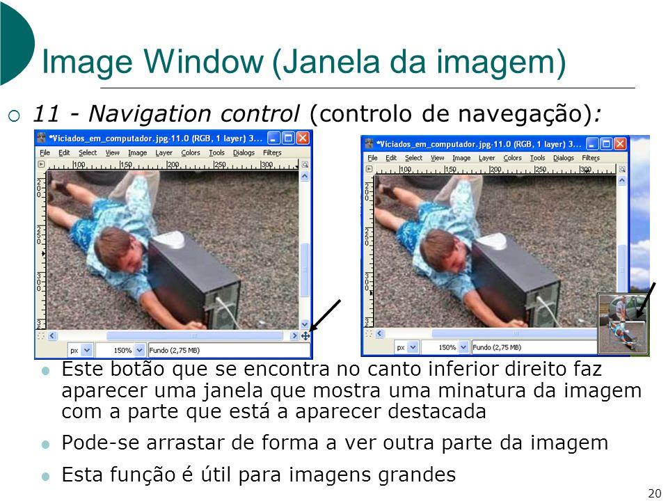 20 Image Window (Janela da imagem) 11 - Navigation control (controlo de navegação): Este botão que se encontra no canto inferior direito faz aparecer uma janela que mostra uma minatura da imagem com a parte que está a aparecer destacada Pode-se arrastar de forma a ver outra parte da imagem Esta função é útil para imagens grandes