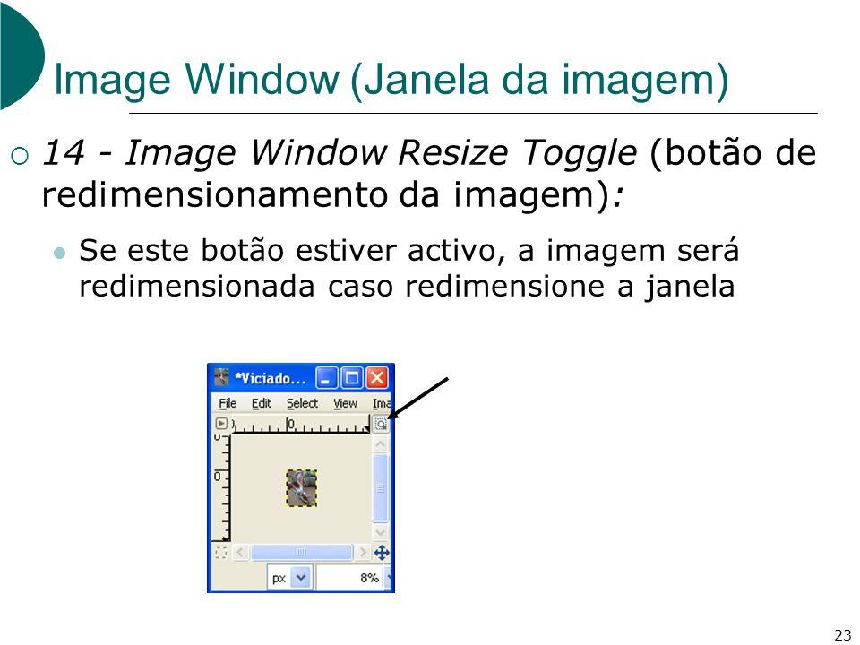 23 Image Window (Janela da imagem) 14 - Image Window Resize Toggle (botão de redimensionamento da imagem): Se este botão estiver activo, a imagem será redimensionada caso redimensione a janela