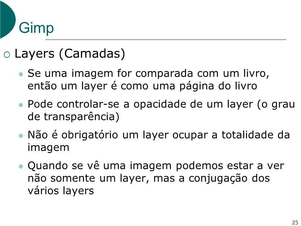 25 Gimp Layers (Camadas) Se uma imagem for comparada com um livro, então um layer é como uma página do livro Pode controlar-se a opacidade de um layer (o grau de transparência) Não é obrigatório um layer ocupar a totalidade da imagem Quando se vê uma imagem podemos estar a ver não somente um layer, mas a conjugação dos vários layers
