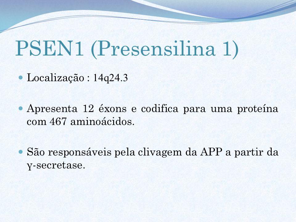 PSEN1 (Presensilina 1) Localização : 14q24.3 Apresenta 12 éxons e codifica para uma proteína com 467 aminoácidos. São responsáveis pela clivagem da AP