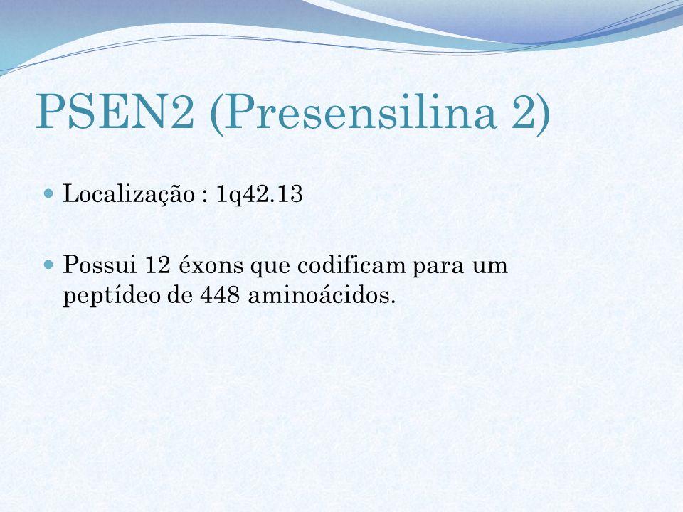PSEN2 (Presensilina 2) Localização : 1q42.13 Possui 12 éxons que codificam para um peptídeo de 448 aminoácidos.