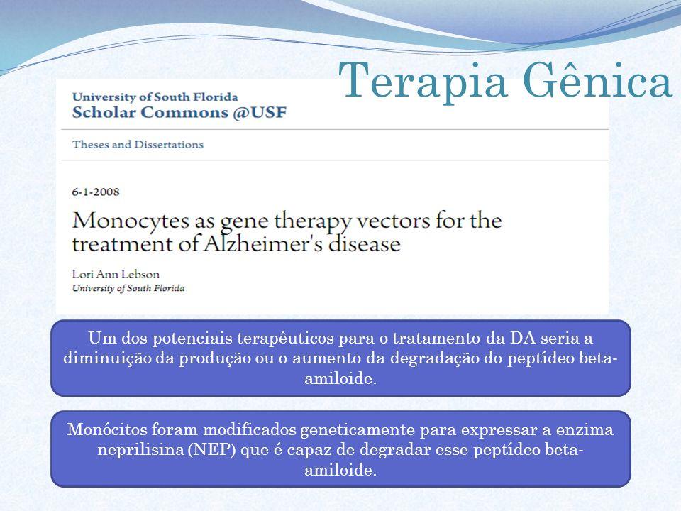 Um dos potenciais terapêuticos para o tratamento da DA seria a diminuição da produção ou o aumento da degradação do peptídeo beta- amiloide. Monócitos