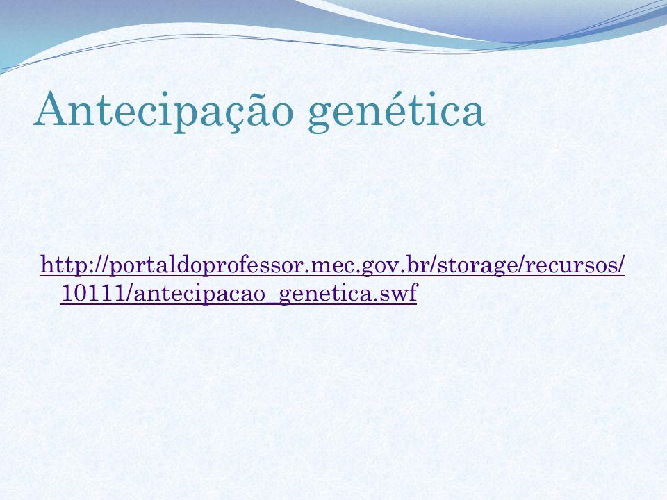 Antecipação genética http://portaldoprofessor.mec.gov.br/storage/recursos/ 10111/antecipacao_genetica.swf