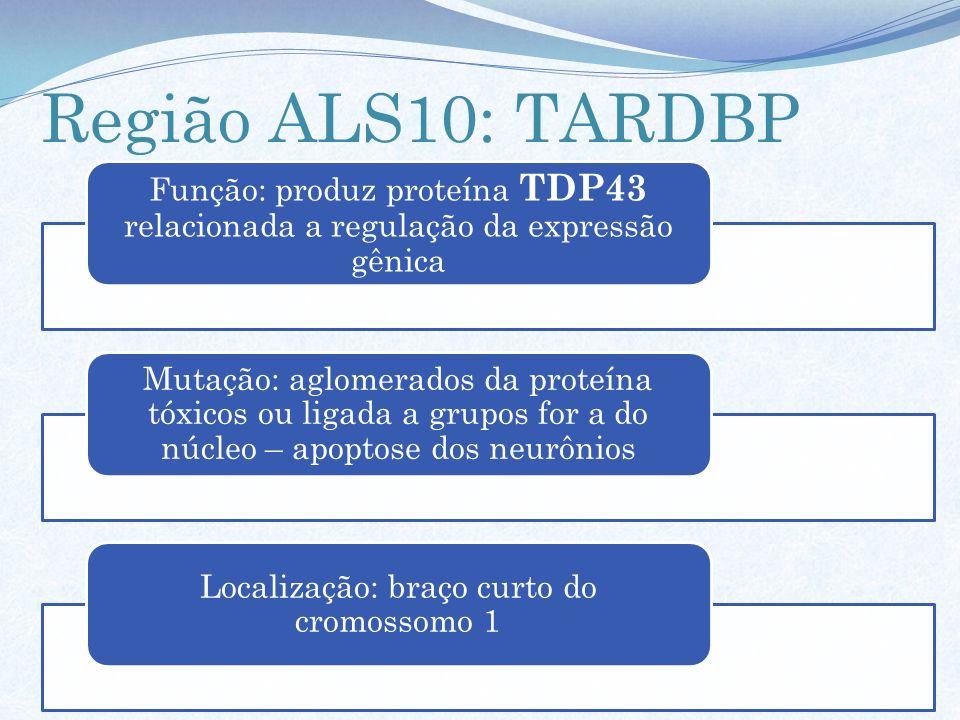 Região ALS10: TARDBP Função: produz proteína TDP43 relacionada a regulação da expressão gênica Mutação: aglomerados da proteína tóxicos ou ligada a gr