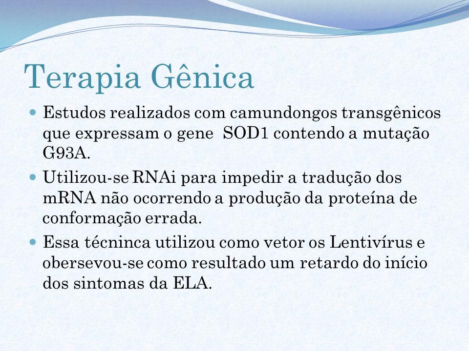 Terapia Gênica Estudos realizados com camundongos transgênicos que expressam o gene SOD1 contendo a mutação G93A. Utilizou-se RNAi para impedir a trad