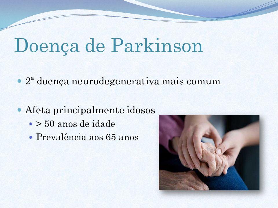 Doença de Parkinson 2ª doença neurodegenerativa mais comum Afeta principalmente idosos > 50 anos de idade Prevalência aos 65 anos