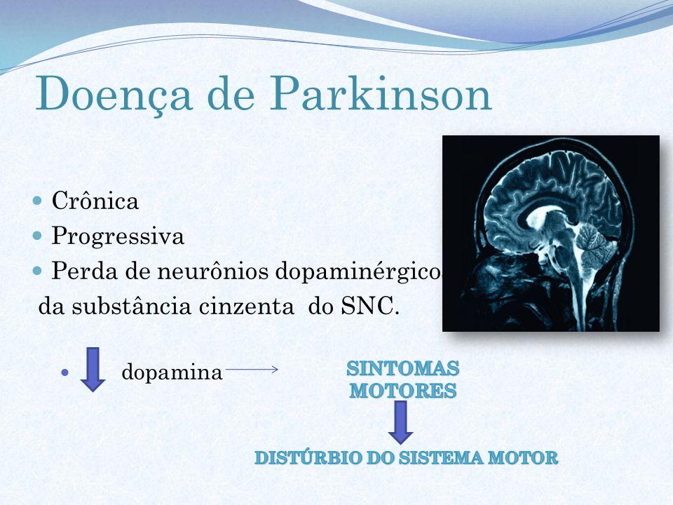 Doença de Parkinson Crônica Progressiva Perda de neurônios dopaminérgicos da substância cinzenta do SNC. dopamina