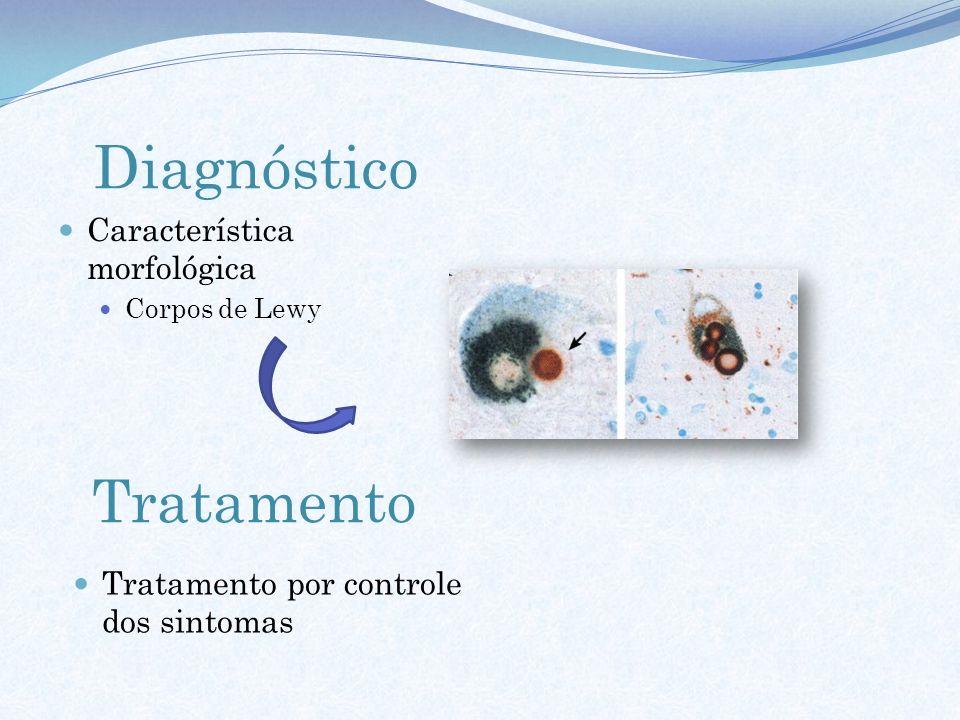 Diagnóstico Tratamento Característica morfológica Corpos de Lewy Tratamento por controle dos sintomas