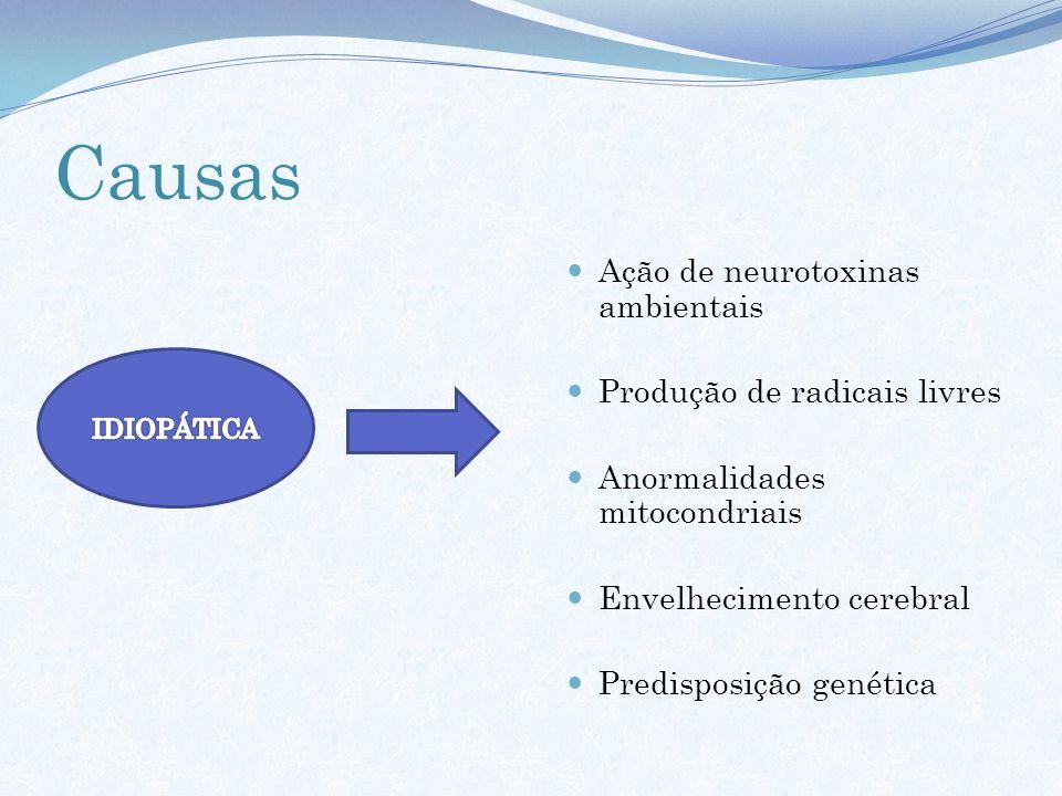 Causas Ação de neurotoxinas ambientais Produção de radicais livres Anormalidades mitocondriais Envelhecimento cerebral Predisposição genética