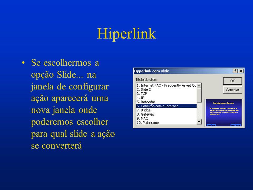 Hiperlink Se escolhermos a opção Slide... na janela de configurar ação aparecerá uma nova janela onde poderemos escolher para qual slide a ação se con