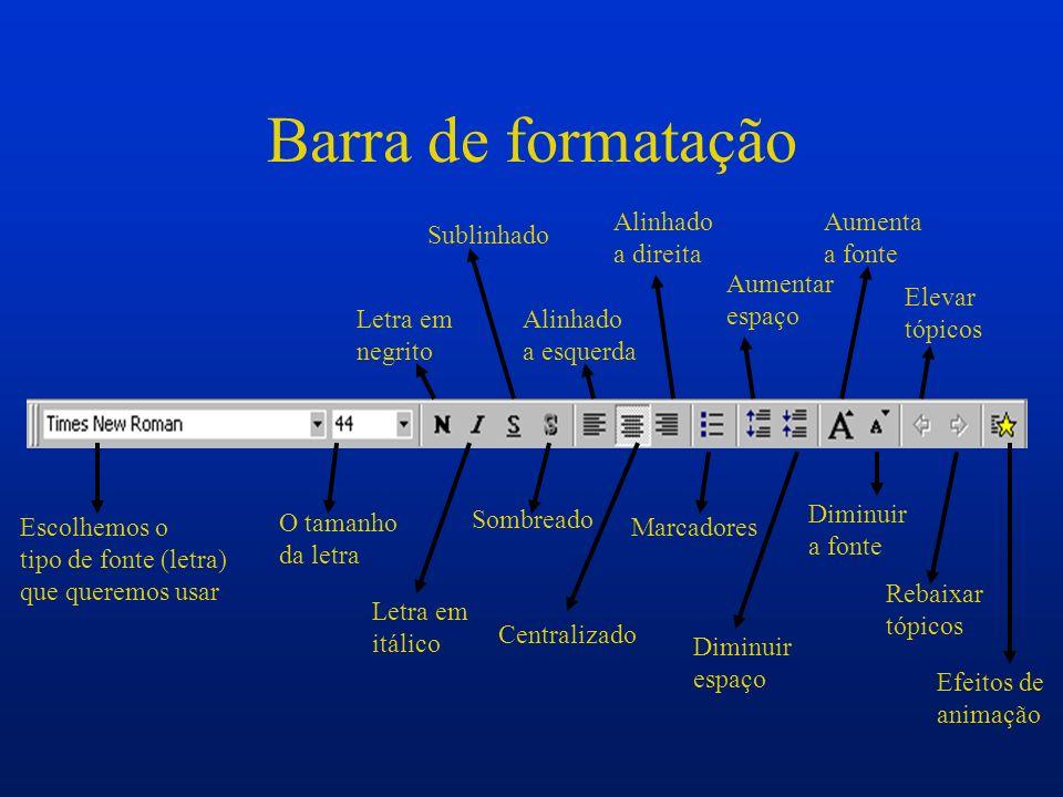 Barra de formatação Escolhemos o tipo de fonte (letra) que queremos usar O tamanho da letra Letra em negrito Letra em itálico Sublinhado Sombreado Ali