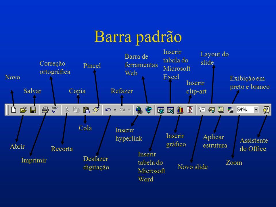Barra padrão Novo Abrir Salvar Imprimir Correção ortográfica Recorta Copia Cola Pincel Desfazer digitação Refazer Inserir hyperlink Barra de ferrament
