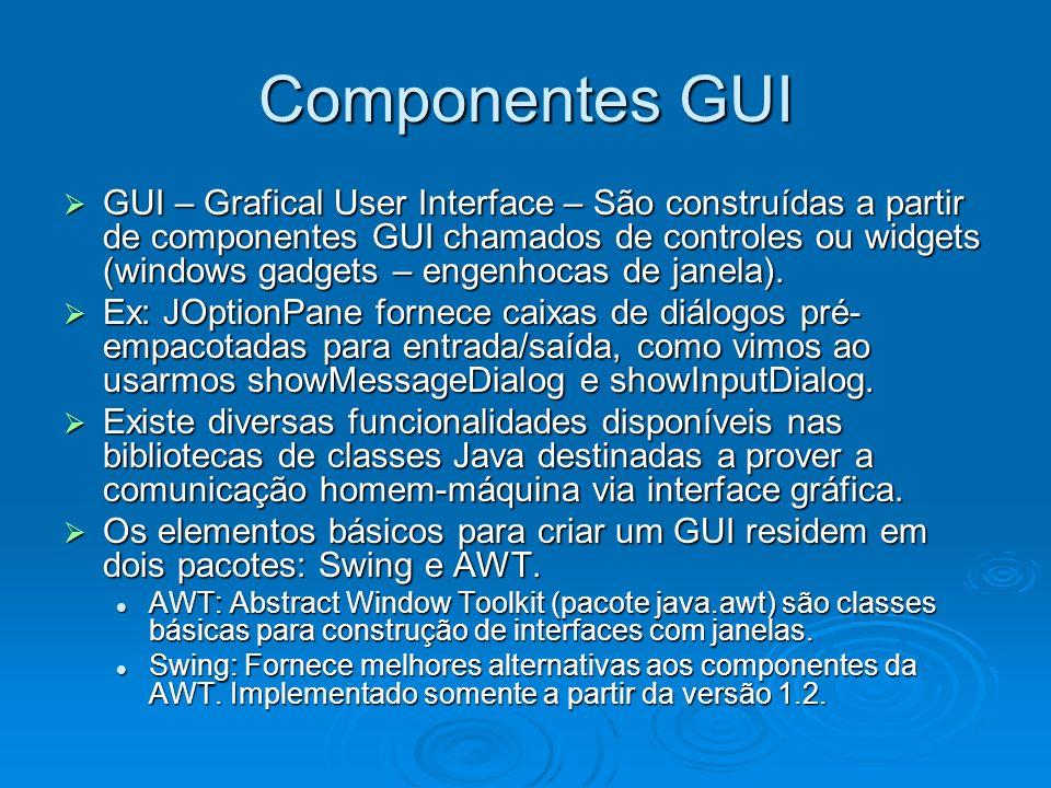 Componentes GUI GUI – Grafical User Interface – São construídas a partir de componentes GUI chamados de controles ou widgets (windows gadgets – engenh