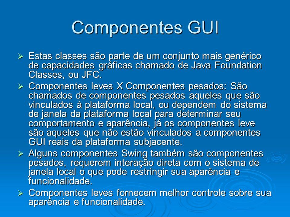 import javax.swing.*; import javax.swing.*; import java.awt.*; import java.awt.*; public class TestaContainer public class TestaContainer { public static void main(String args[]) public static void main(String args[]) { int i; int i; JFrame janela = new JFrame( Teste de janela ); JFrame janela = new JFrame( Teste de janela ); janela.setDefaultCloseOperation(WindowConstants.DISPOSE_ON_CLOSE); janela.setDefaultCloseOperation(WindowConstants.DISPOSE_ON_CLOSE); FlowLayout flow = new FlowLayout(FlowLayout.LEFT); FlowLayout flow = new FlowLayout(FlowLayout.LEFT); janela.setLayout(flow); janela.setLayout(flow); for (i = 1; i <= 6; i++) for (i = 1; i <= 6; i++) janela.add(new JButton( aperte + i)); janela.add(new JButton( aperte + i)); janela.setVisible(true); janela.setVisible(true); } }