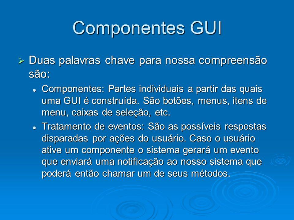 Componentes GUI Duas palavras chave para nossa compreensão são: Duas palavras chave para nossa compreensão são: Componentes: Partes individuais a part